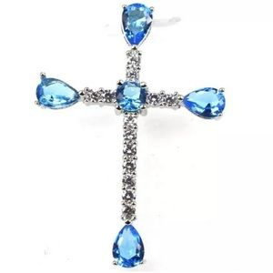 Blue Topaz and CZ Cross Pendant 925 New